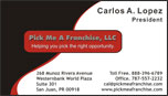 Business Card - Pick Me A Franchise